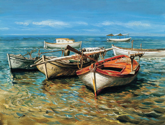 Рыбацкие лодки. Холст, масло. 30х40 см. 2005