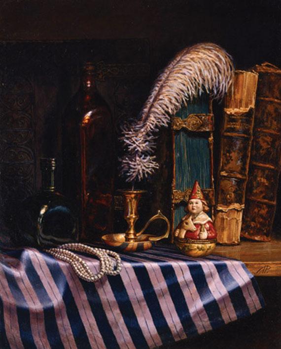 Натюрморт со страусиным пером. Картон, масло. 18х21 см. 2004