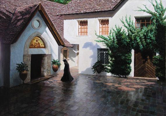 Двор монастыря у подножья Тродоса на Кипре. Холст, масло. 50х70 см. 2004